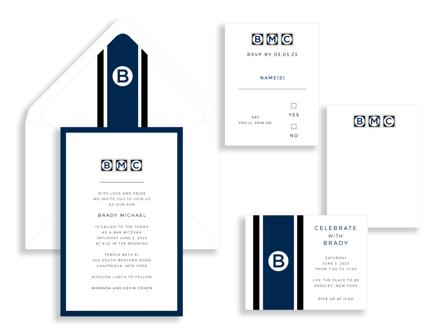 Bar Mitzvah invitation available in Northern Virginia from Staccato. Brady Michael bar mitzvah invitation by B.T. Elements
