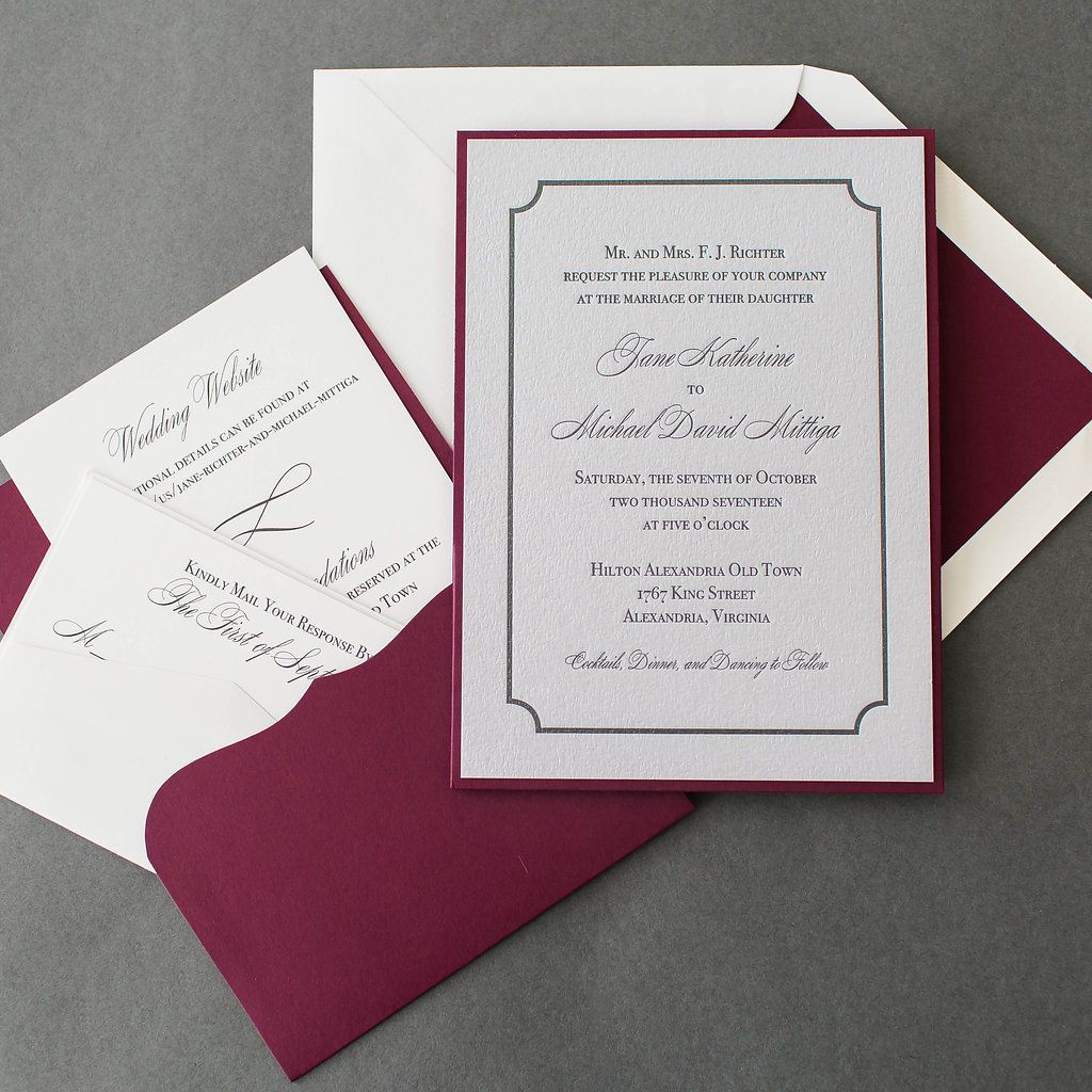 Jane & Michael's Silver Letterpress Wedding Invitations