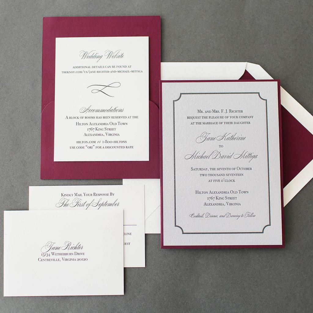 Jane michael 39 s silver letterpress wedding invitations for Michaels crafts wedding invitations