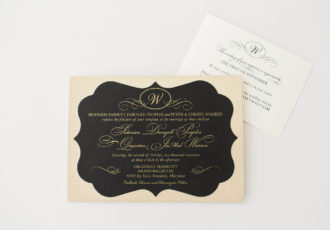 Satoriea & Quentin's Black and Gold Glitter Wedding Invitations