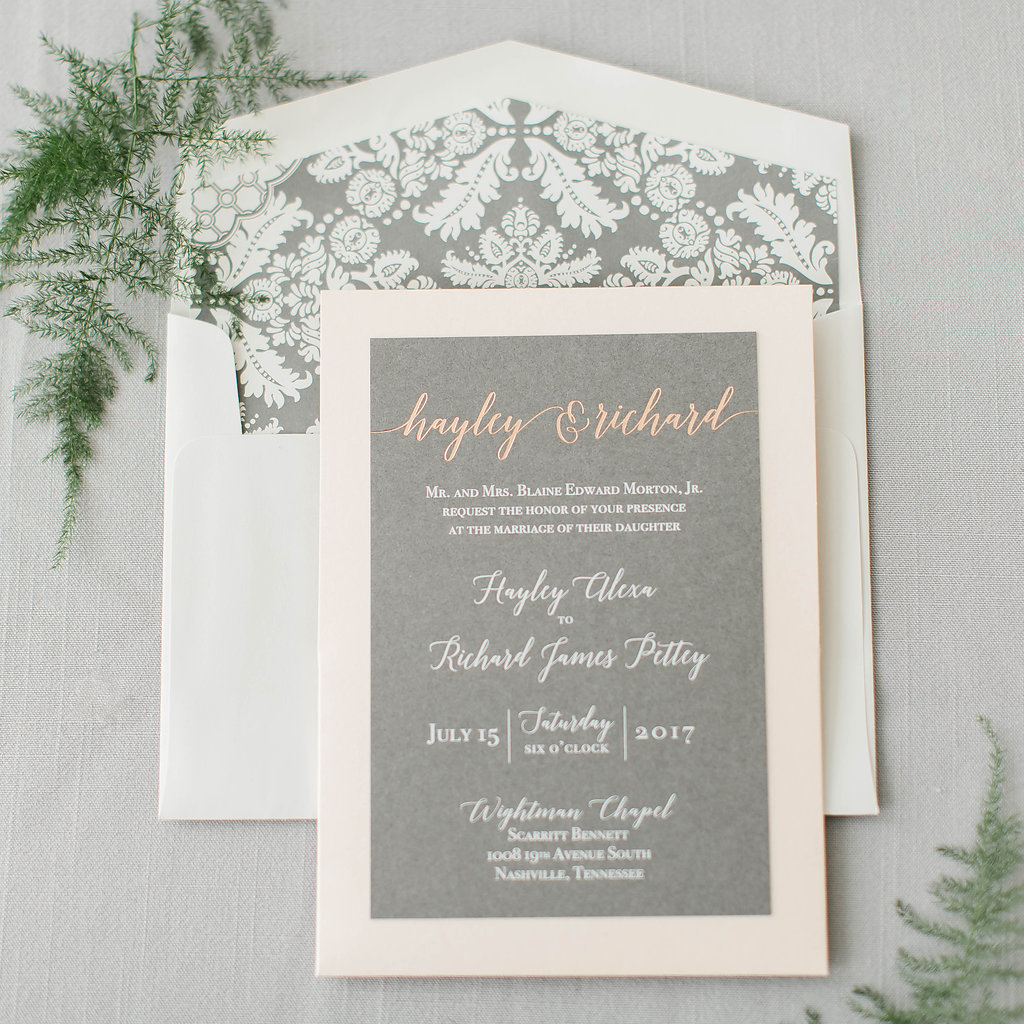 Hayley & Richard's Foil Stamped Wedding Invitations