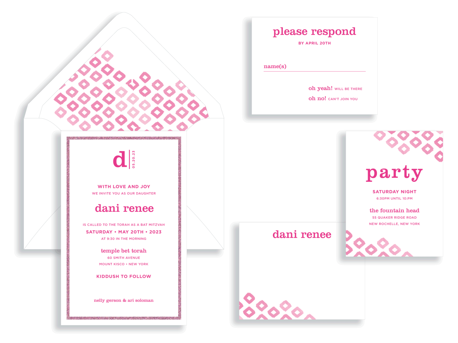 Dani magenta and pink glitter ikat bat mitzvah invitation in the Washington DC Metro area from Staccato.  Customize colors and layers!