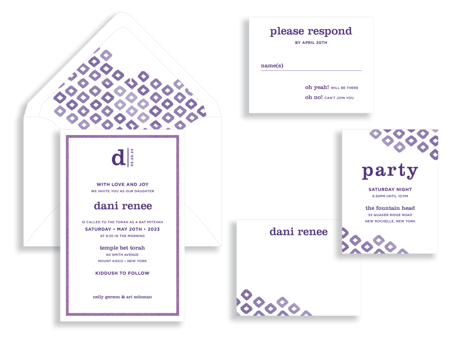 Dani Renee Ikat Bat Mitzvah invitation in purple and white.  Bat Mitzvah invitations Northern Virginia Fairfax.