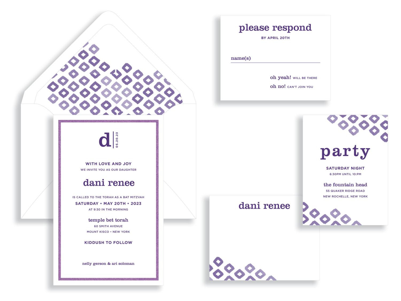 Dani Renee Ikat Bat Mitzvah invitation in purple and white.  Bat Mitzvah invitations Northern Virginia Fairfax.