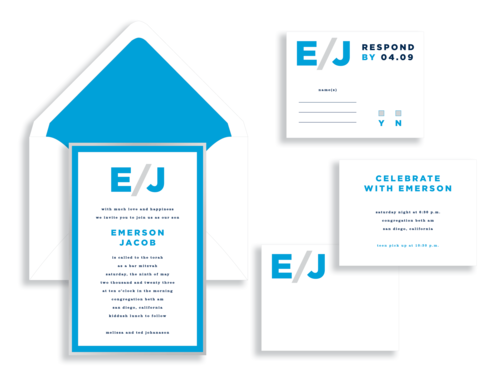 Emerson bar mitzvah invitation in bright blue and silver available in the Washington DC Metro  area from Staccato.