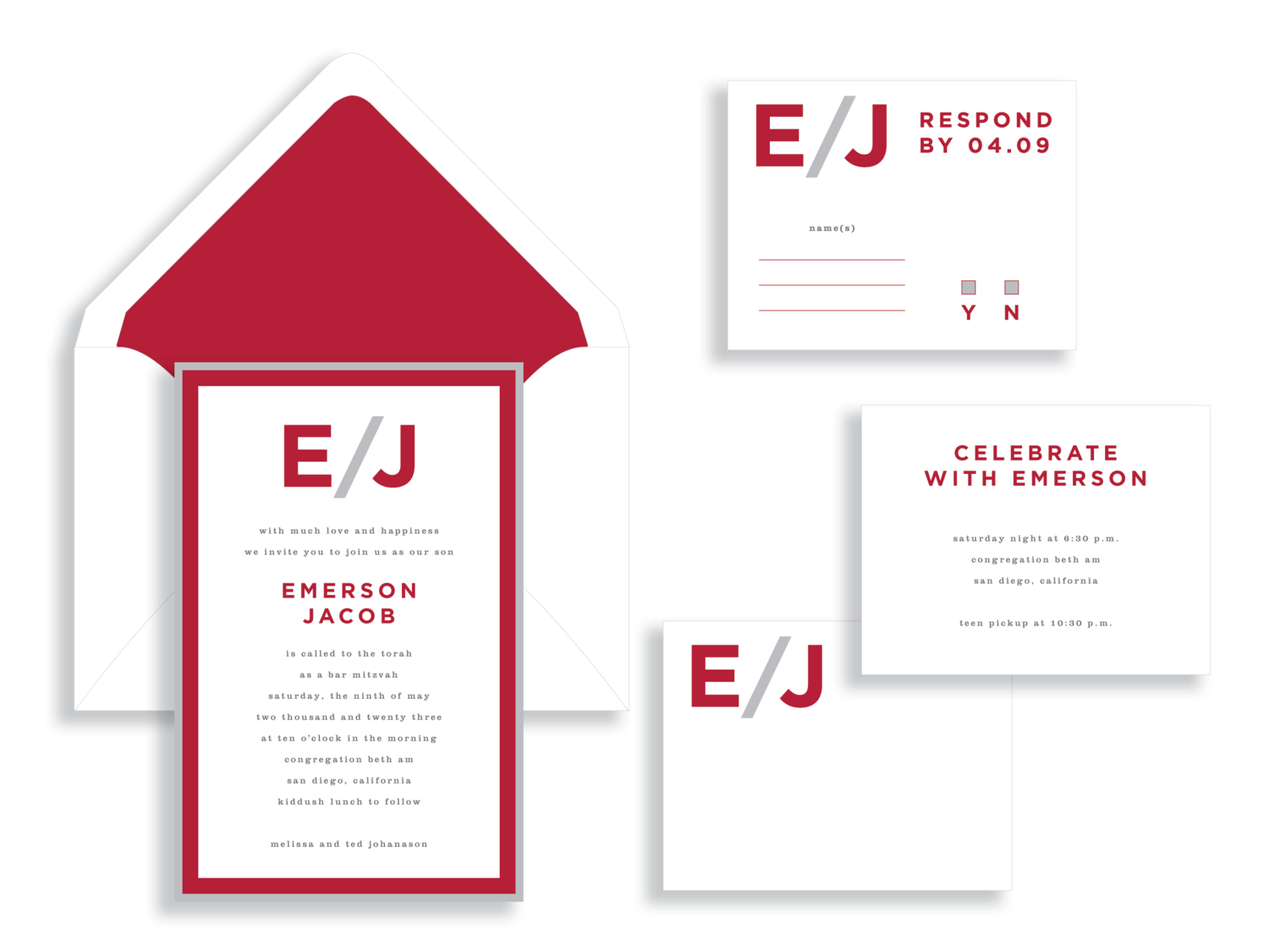 Emerson Bar Mitzvah invitation in red and silver available in Fairfax Virginia from Staccato.