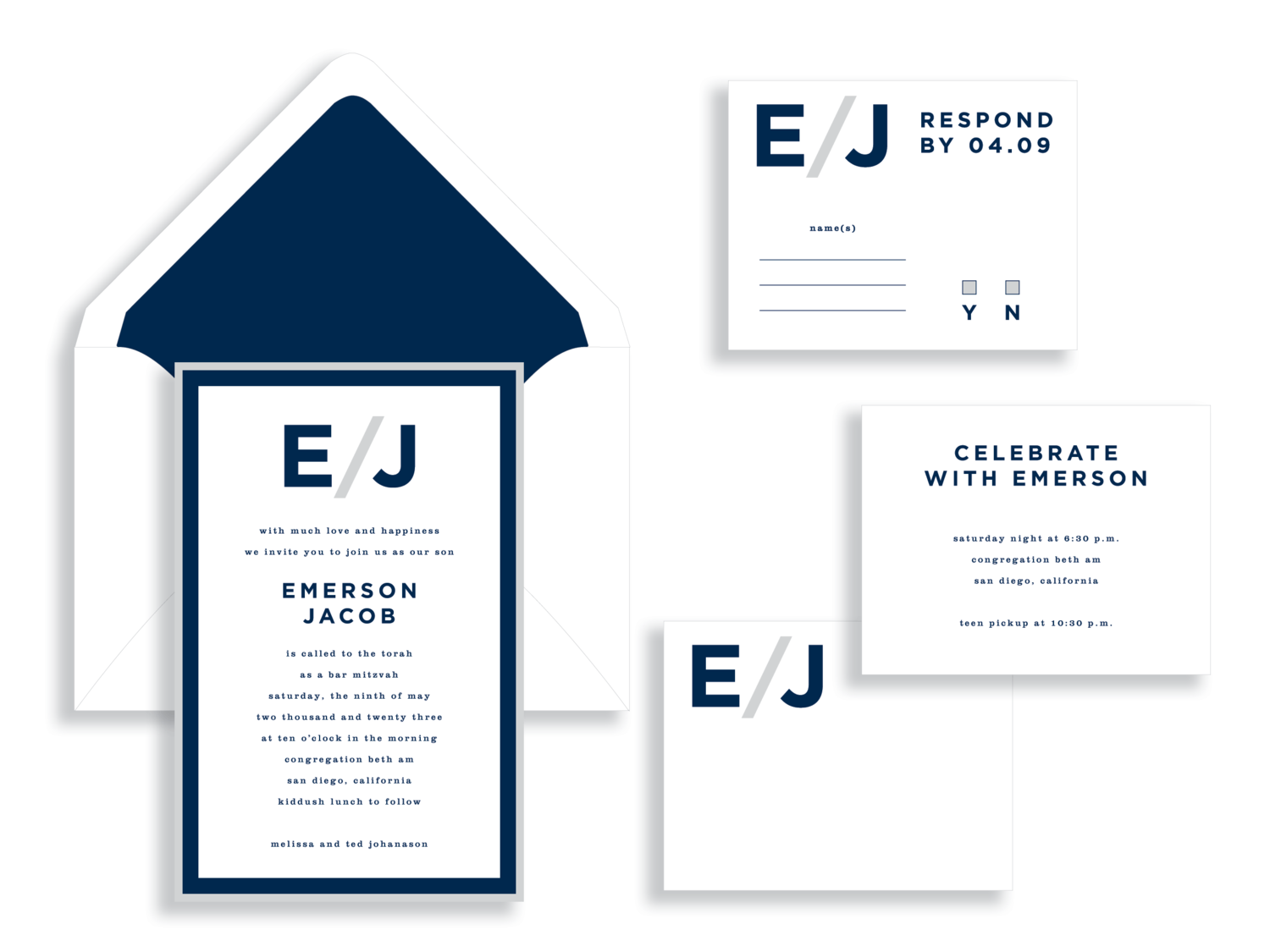 Emerson bar mitzvah invitation available in the Washington DC Metro area from Staccato.