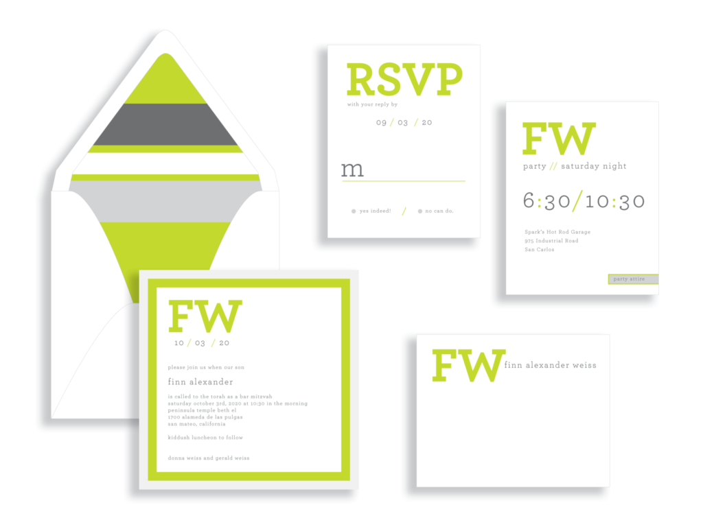 Bold green and silver square bar mitzvah invitation from Staccato in Fairfax, VA.