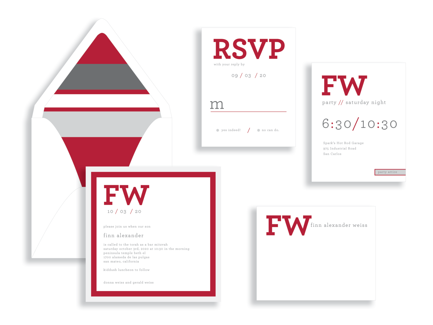 Finn bar mitzvah invitation in red and silver available in the Washington DC Metro  area from Staccato.