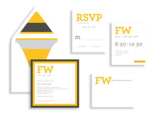 Find bar mitzvah invitations in bold and contemporary styles from Staccato serving DC, MD, and VA.