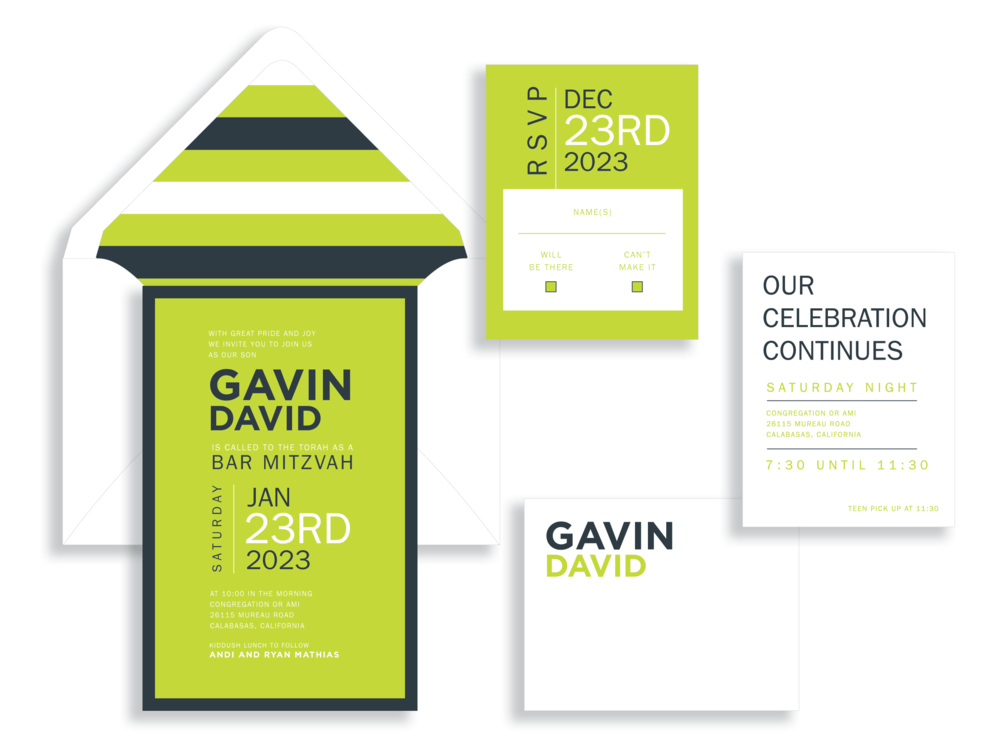 Gavin bar mitzvah invitation available in the Washington DC Metro area from Staccato.