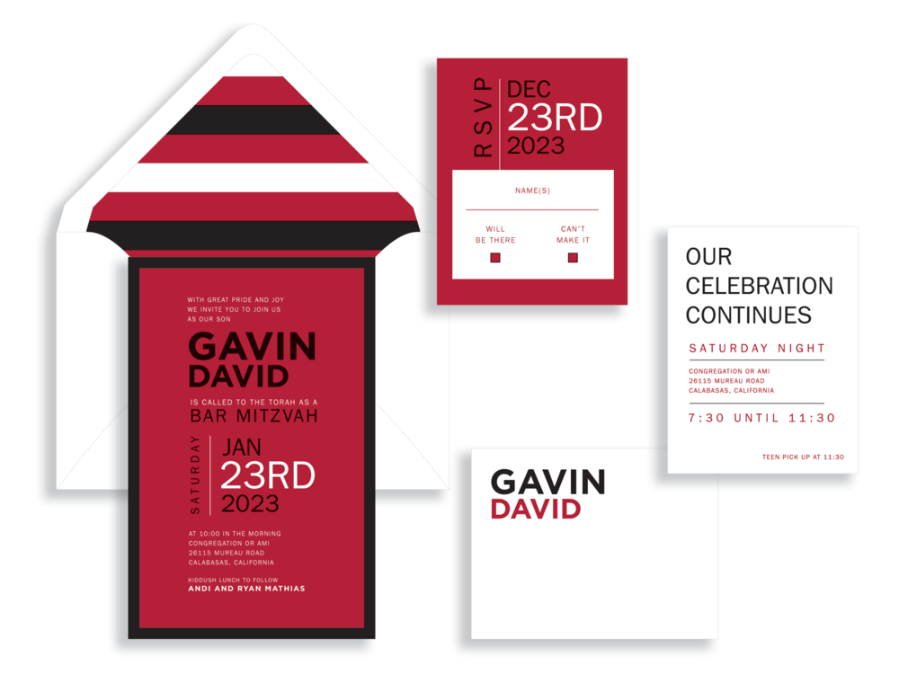 Gavin Bar Mitzvah invitation in red and black available in Fairfax Virginia from Staccato.