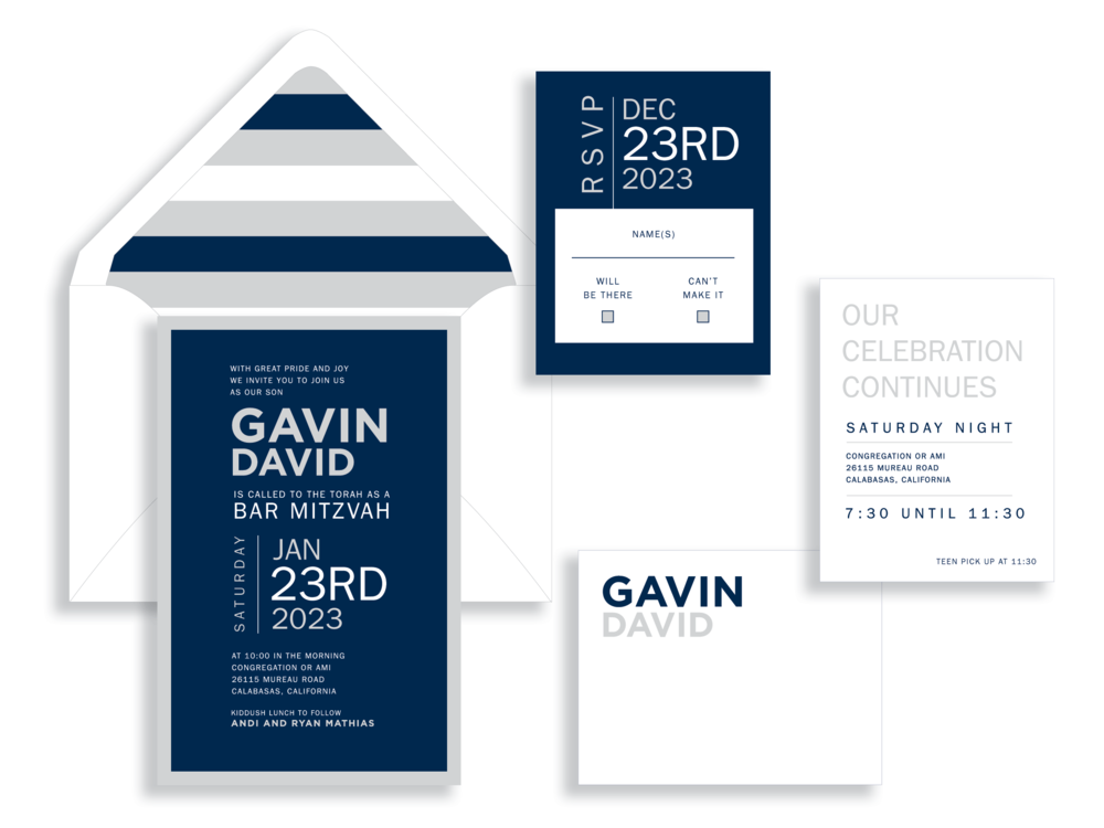 Gavin Bar Mitzvah invitation in navy and silver available in Fairfax Virginia from Staccato.
