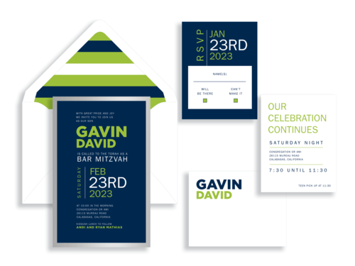 Gavin bar mitzvah invitation in bright green, navy, and silver available in the Washington DC Metro  area from Staccato.