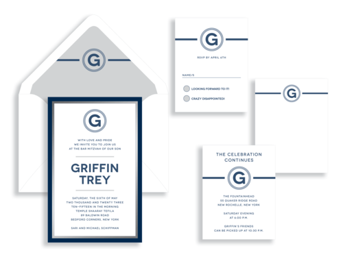Griffin Bar Mitzvah invitation in navy and silver available in Northern Virginia from Staccato.
