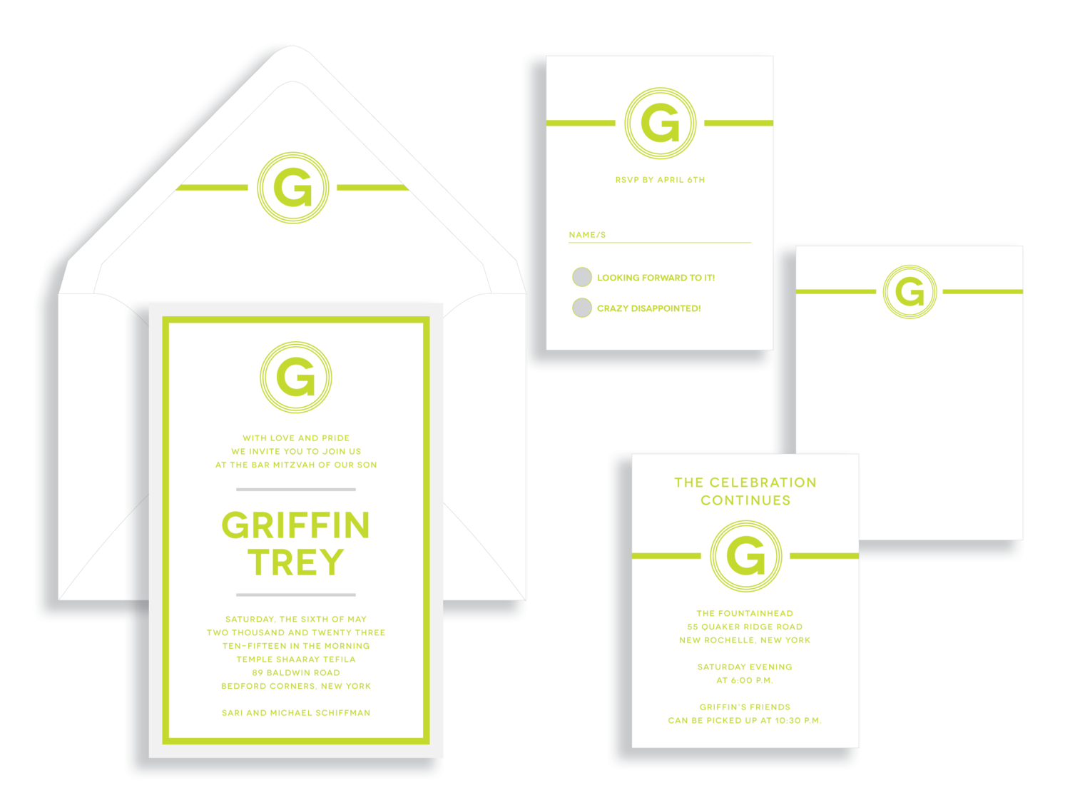 GriffinBar Mitzvah invitation in green and white available in Northern Virginia from Staccato.