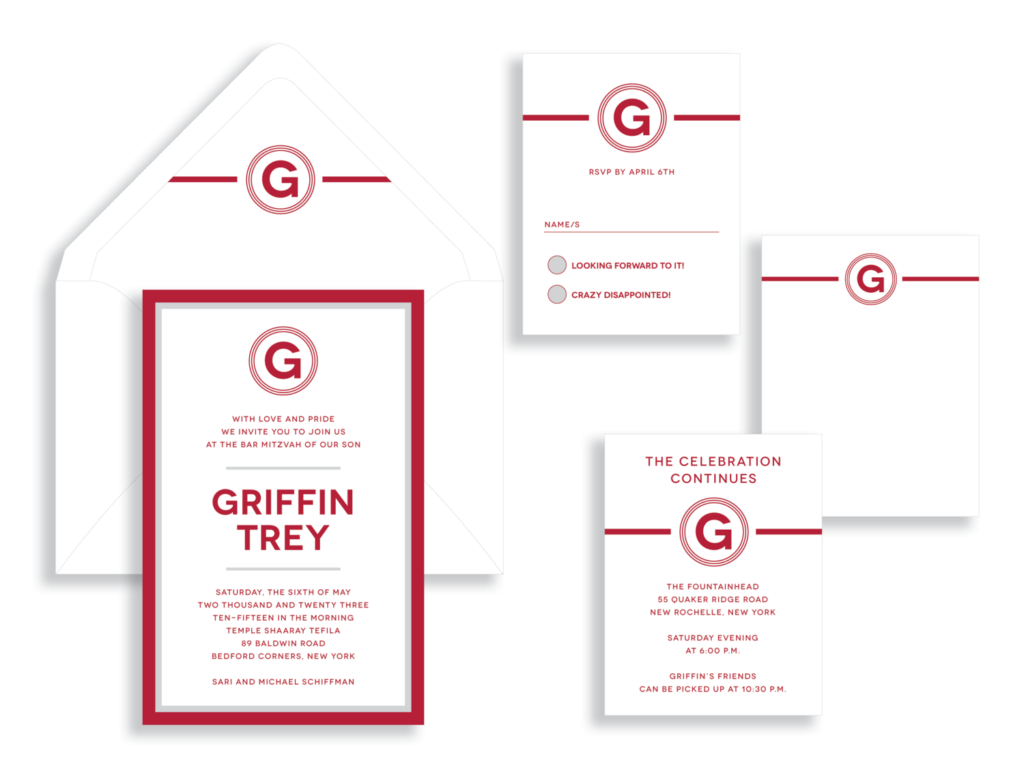 Red and silver layers accent this bold and modern bar mitzvah invitation from Staccato in Fairfax, VA.