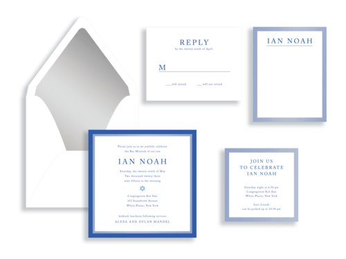 Ian bar mitzvah invitation available in Fairfax, VA from Staccato