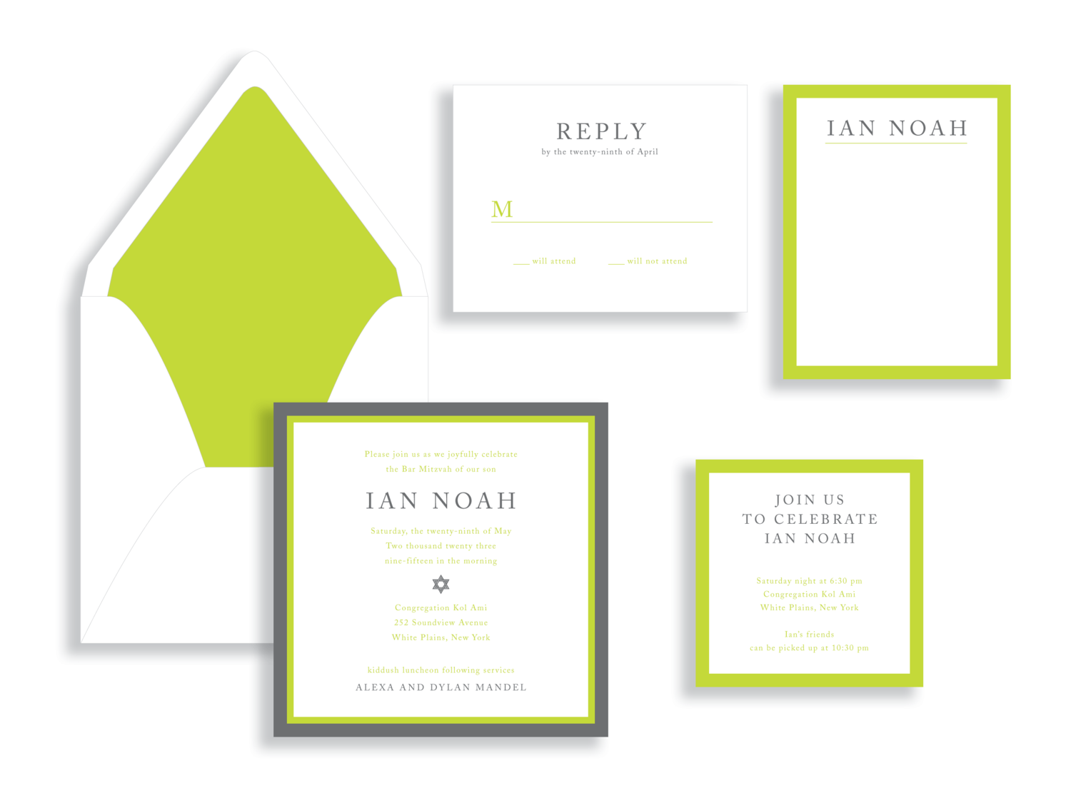 Ian Bar Mitzvah invitation silver, green, and white available in the Washington DC Metro  area from Staccato.