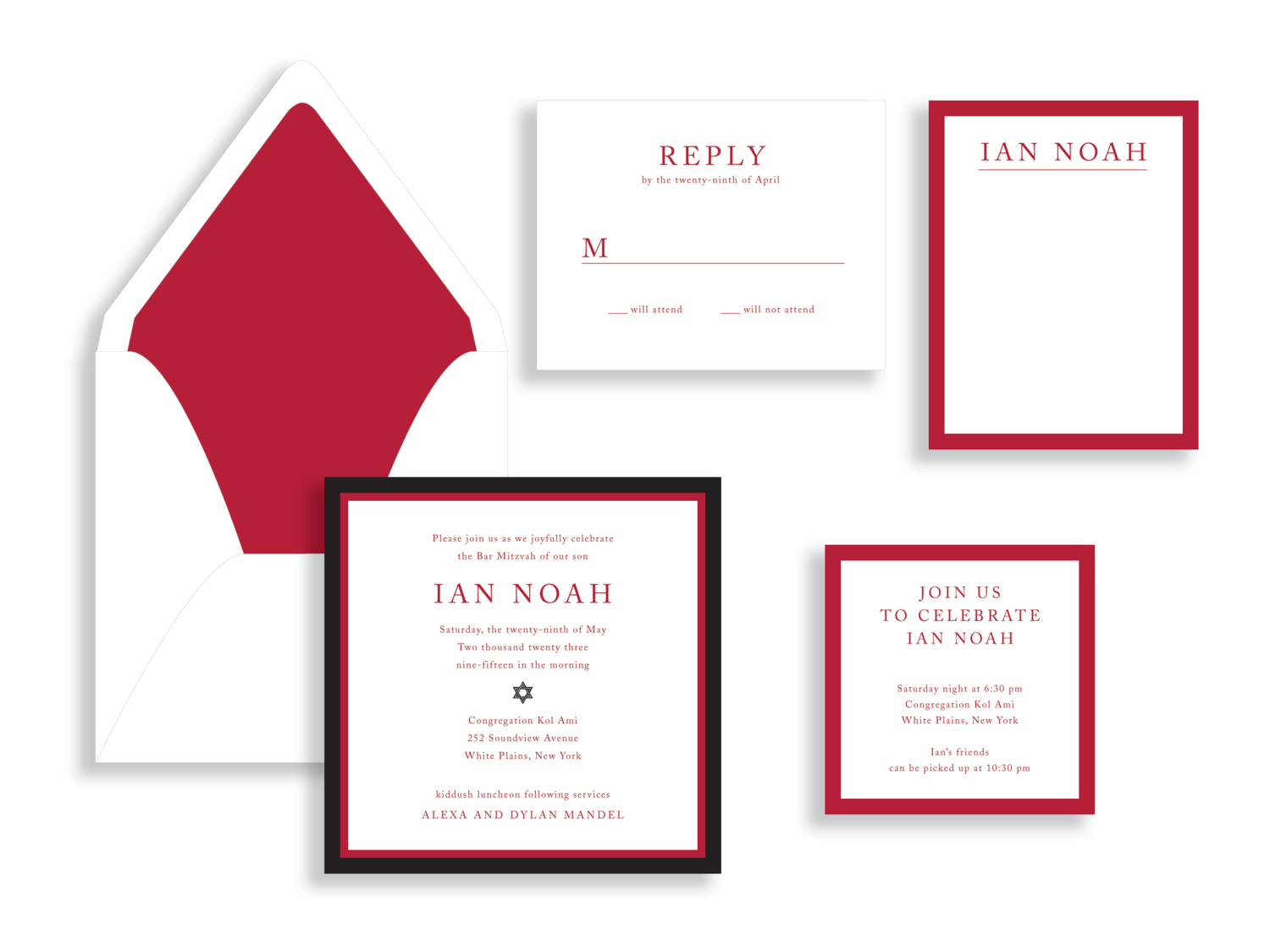 Ian bar mitzvah invitation in red and black available in Fairfax, VA from Staccato