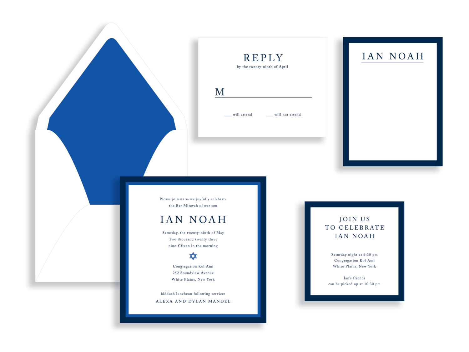 Ian bar mitzvah invitation available in the Washington DC Metro  area from Staccato.