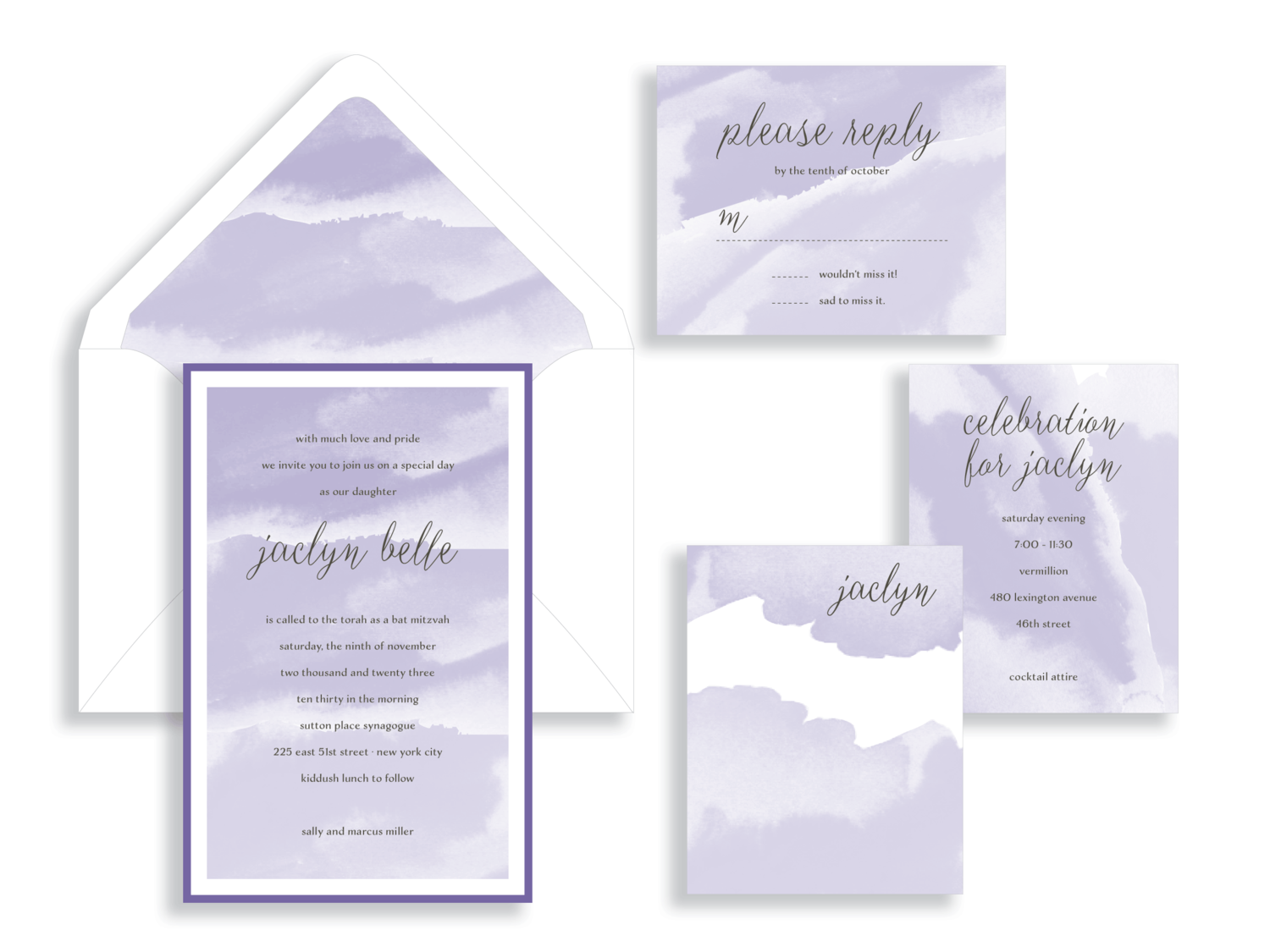 Jaclyn lavender watercolor bat mitzvah invitation in Fairfax Virginia from Staccato with personalized service, great selection!