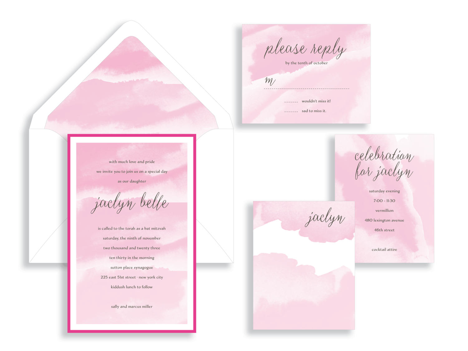 Jaclyn Belle watercolor Bat Mitzvah invitation in pink.  Bat Mitzvah invitations Northern Virginia Fairfax.