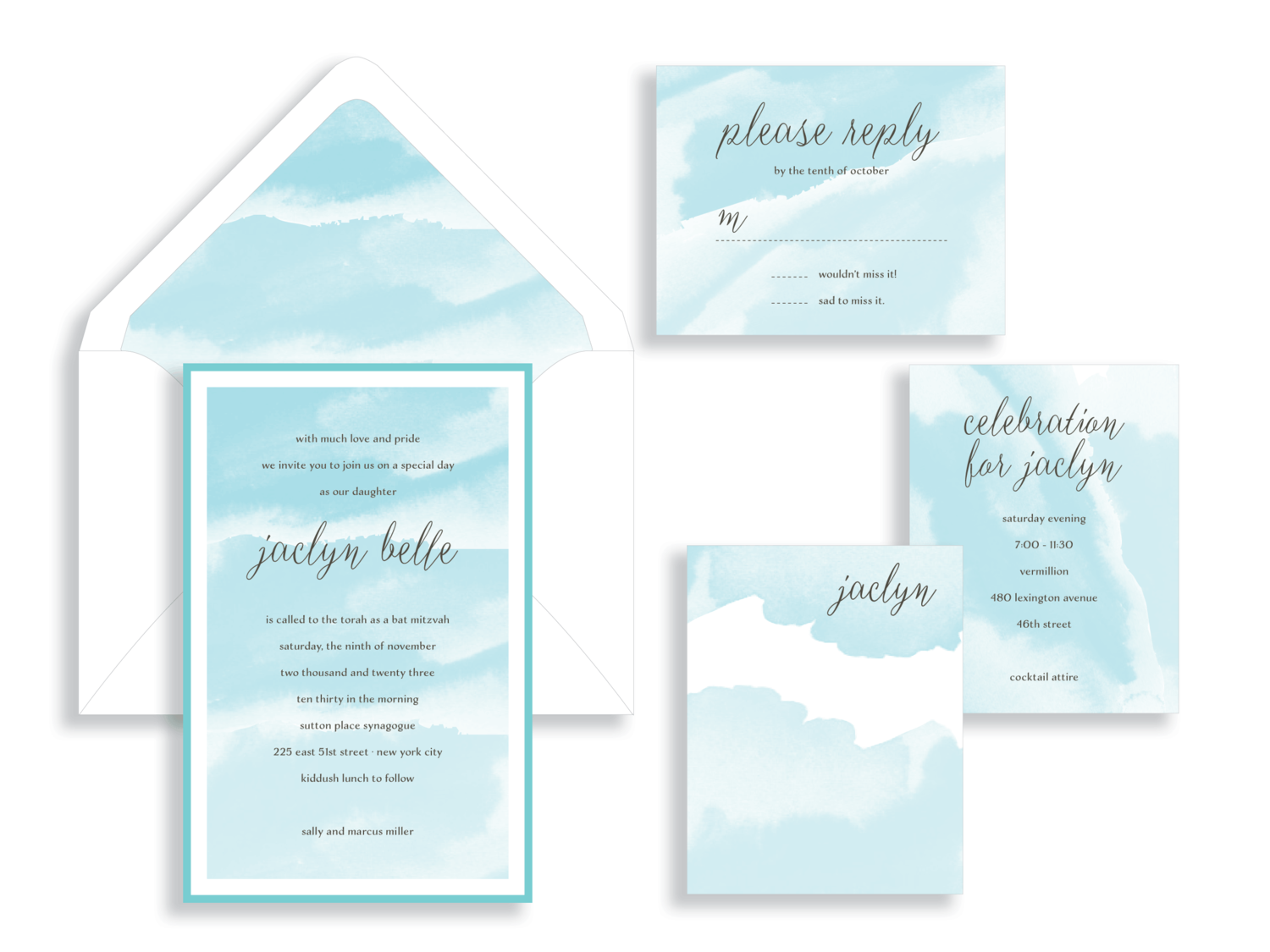 Jaclyn tiffany blue watercolor bat mitzvah invitation in the Washington DC Metro area from Staccato.  Customize colors and layers!