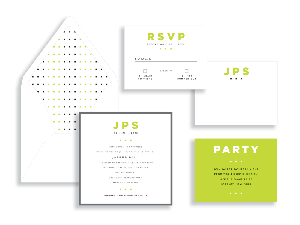 Celebrate a special bar mitzvah with a contemporary invitation layered onto dark gray and accented with modern dots in a bold green color. Staccato serves mitzvah celebrations in Washington DC, MD, and VA.
