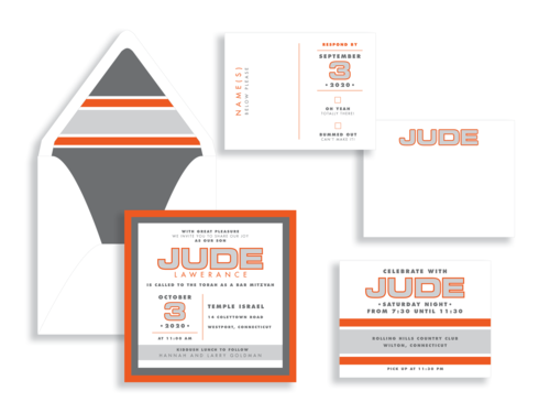 Bold outlined text layered onto gray and orange with contemporary stripes is a perfect bar mitzvah invitation available at Staccato in Fairfax, VA