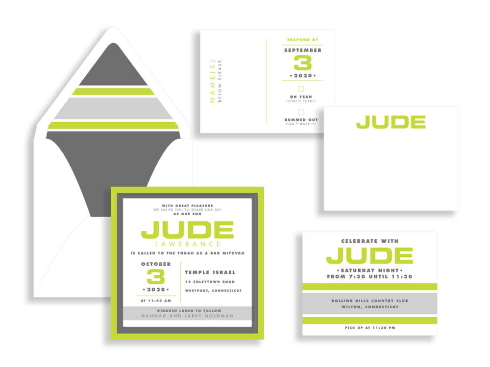 "Bar mitzvah stationery is accented with a bright green color. ""Jude"" design available from Staccato for DC, MD, and VA mitzvah celebrations."