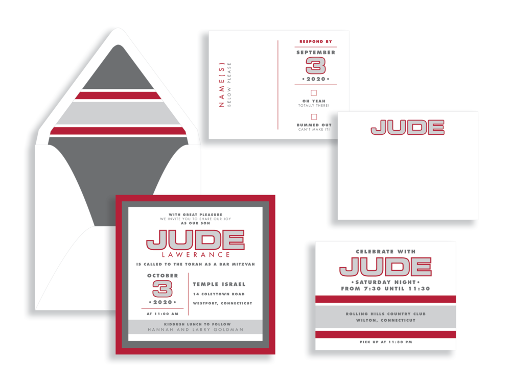 Outlined Bar Mitzvah name is bold and contemporary in this white, gray, and red bar mitzvah invitation available in VA from Staccato in Fairfax.