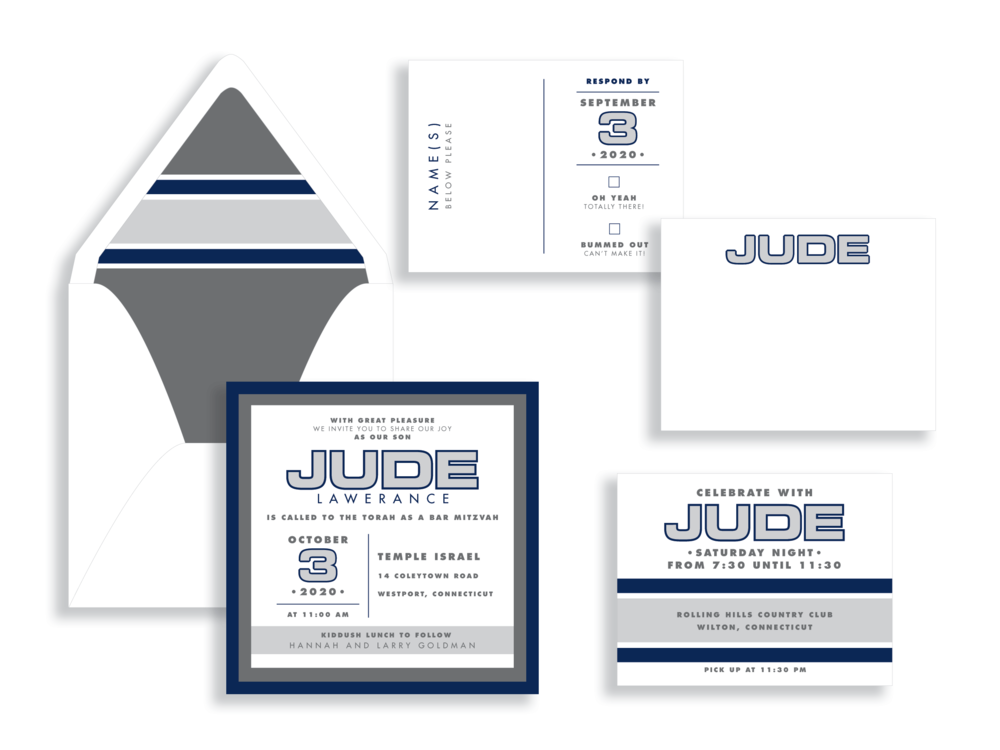 Contemporary outlined name is the highlight of this bold square bar mitzvah invitation available from Staccato. Bold striped envelope liner, modern response set, and personalized stationery.