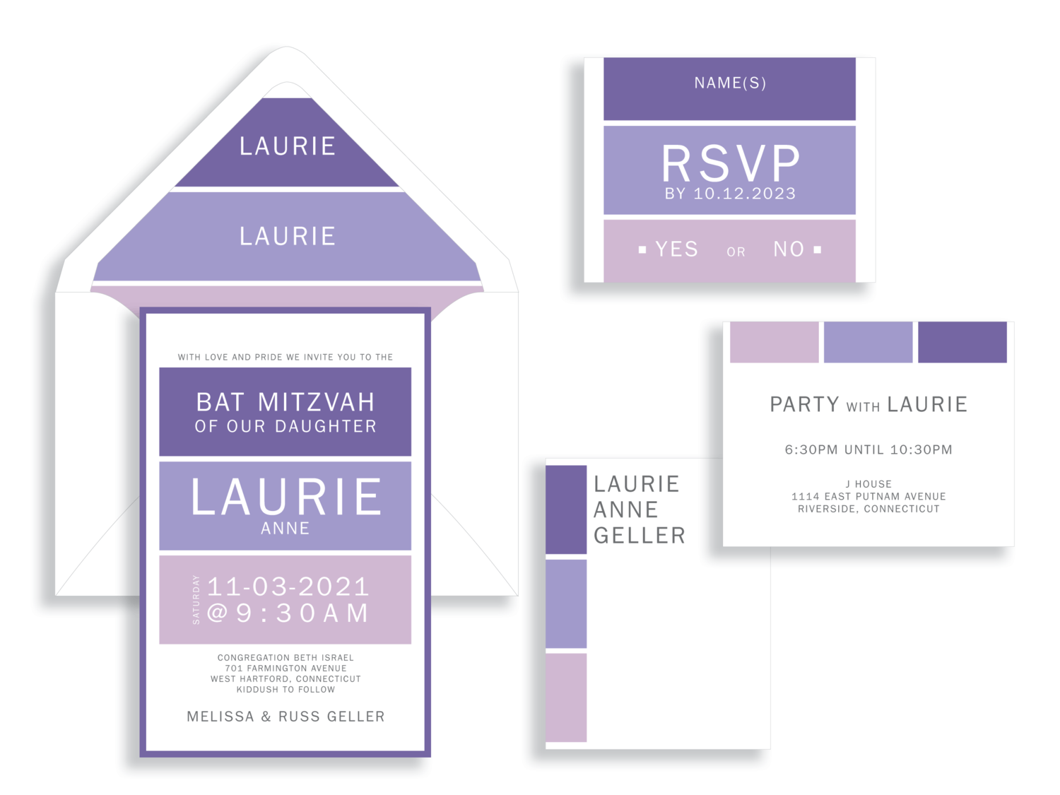 Laurie bold purple blocks bat mitzvah invitation in Fairfax Virginia from Staccato with personalized service, great selection!