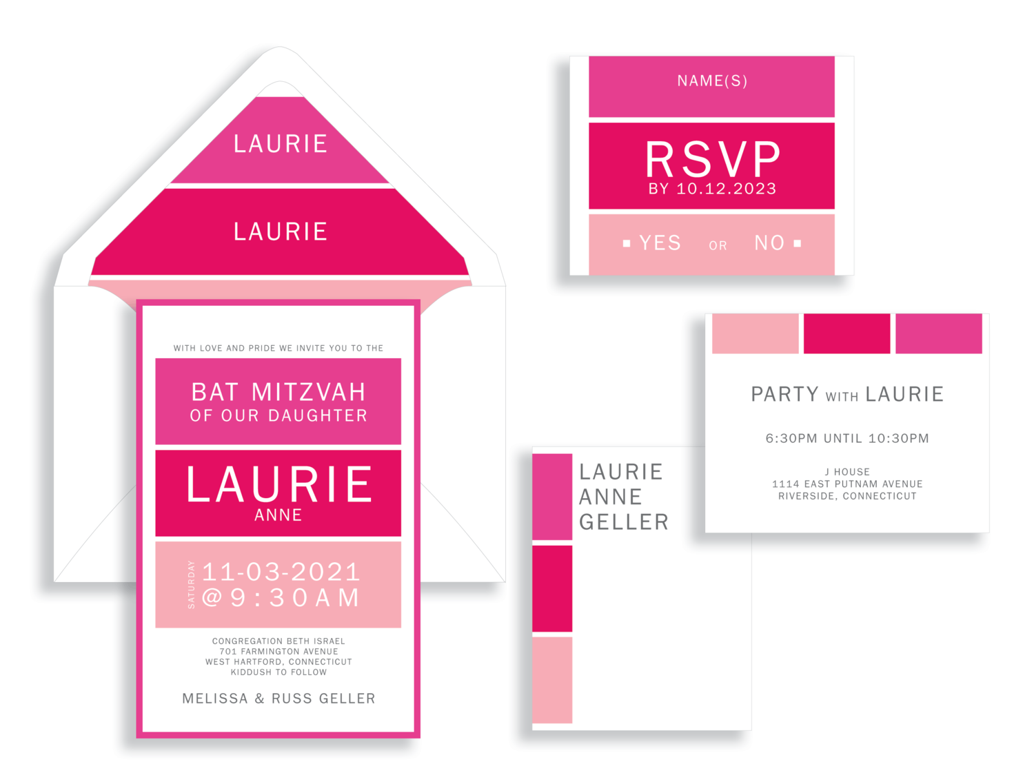 Laurie magenta blocks bat mitzvah invitation in the Washington DC Metro area from Staccato.  Customize colors and layers!
