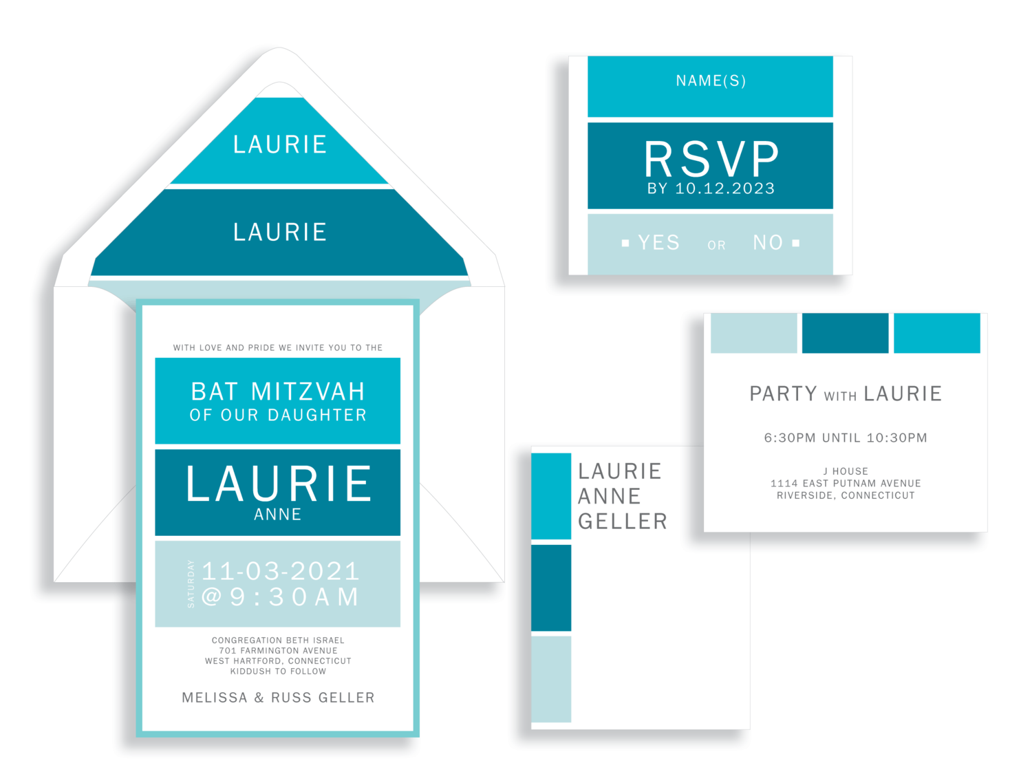 Laurie Anne Bat Mitzva Invitation in Turquoise blocks.  Personalized envelope liner.  Bat Mitzvah invitations Northern Virginia Fairfax.