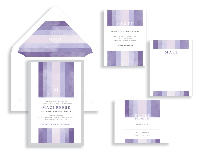 Maci striped Bat Mitzvah invitation in purple and silver.  Bat Mitzvah invitations Northern Virginia Fairfax.