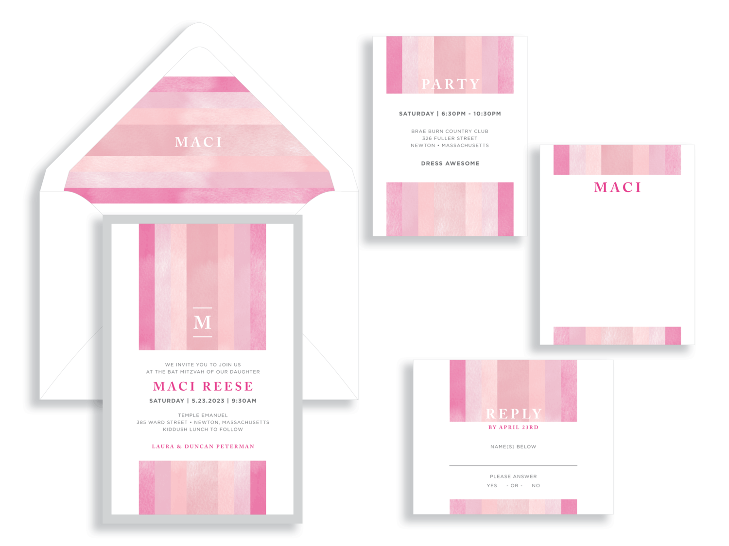 Maci Reece Bat Mitzvah invitation features stripes of pink and blush. Bat Mitzvah invitations by B.T. Elements are available in Northern VA at Staccato