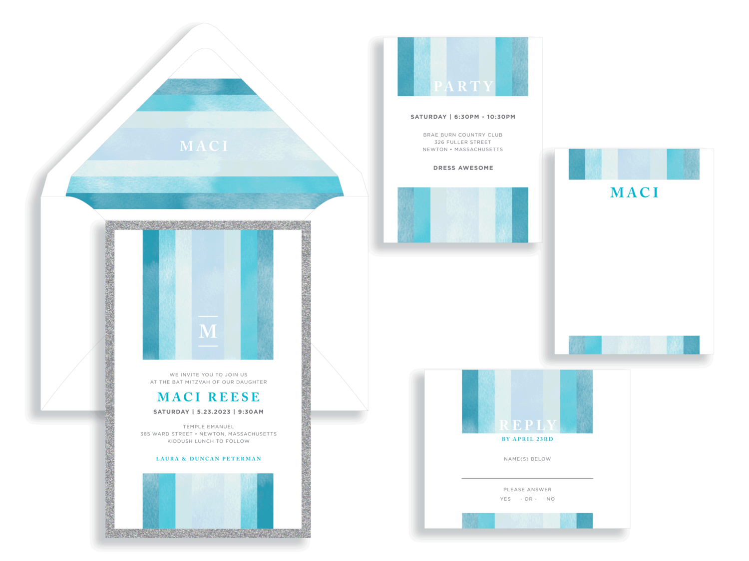 Maci aqua stripes and silver glitter bat mitzvah invitation in Fairfax Virginia from Staccato with personalized service, great selection!