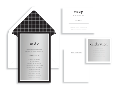 A striking silver card is printed with a contemporary text setting and layered onto white and black accent papers. The bar mitzvah invitation is accented by a geometric envelope liner and simply-stated inserts. Mitzvah invitations are available from Staccato in Fairfax, Virginia.