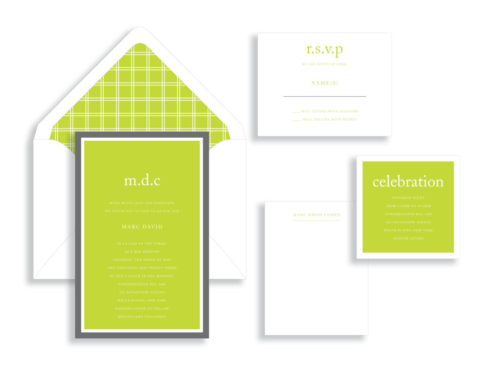 Marc Bar Mitzvah invitation available in Northern Virginia from Staccato.