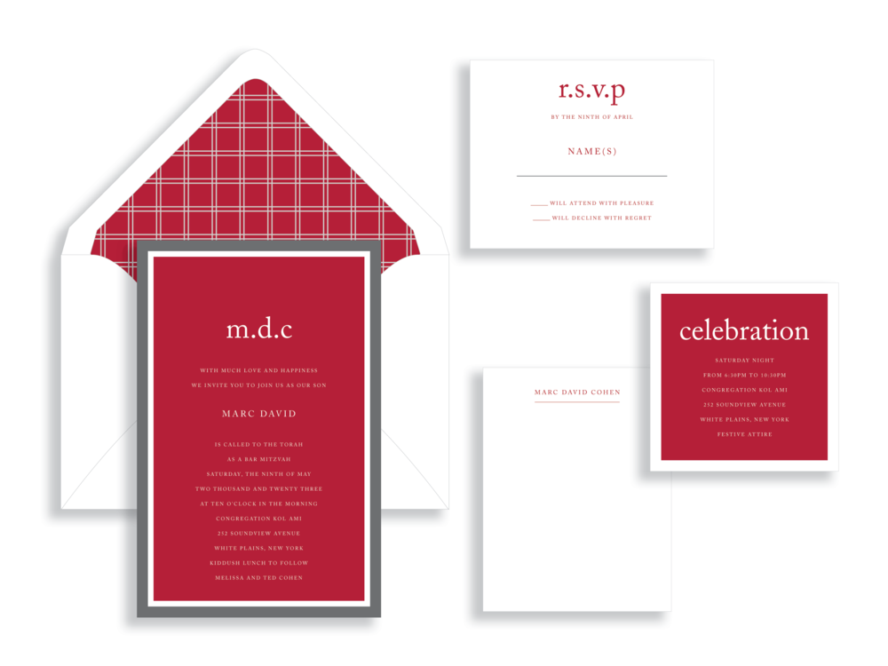 Marc bar mitzvah invitation available in the Washington DC Metro  area from Staccato.