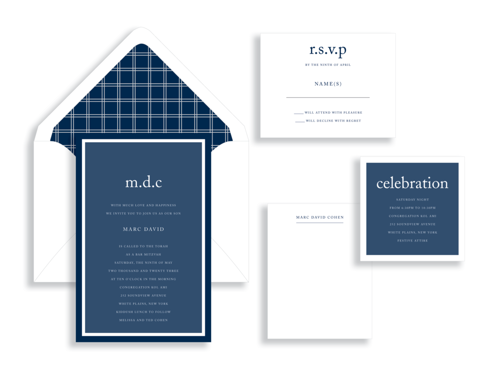 Marc bar mitzvah invitation in shades of blue.  Bar Mitzvah invitations are available in the Washington DC Metro  area from Staccato.