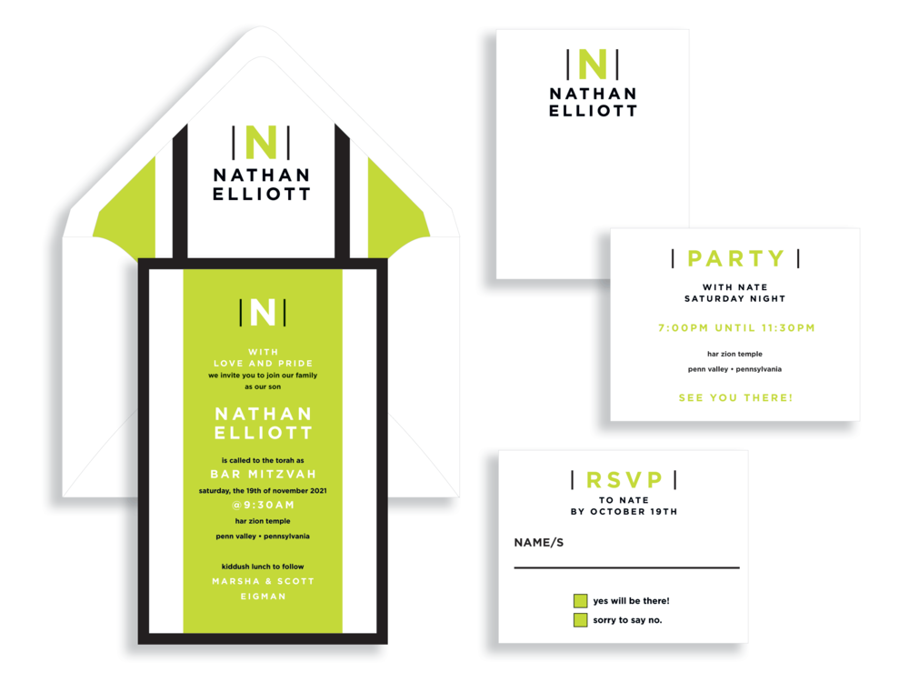 Nathan bar mitzvah invitation available in the Washington DC Metro  area from Staccato.