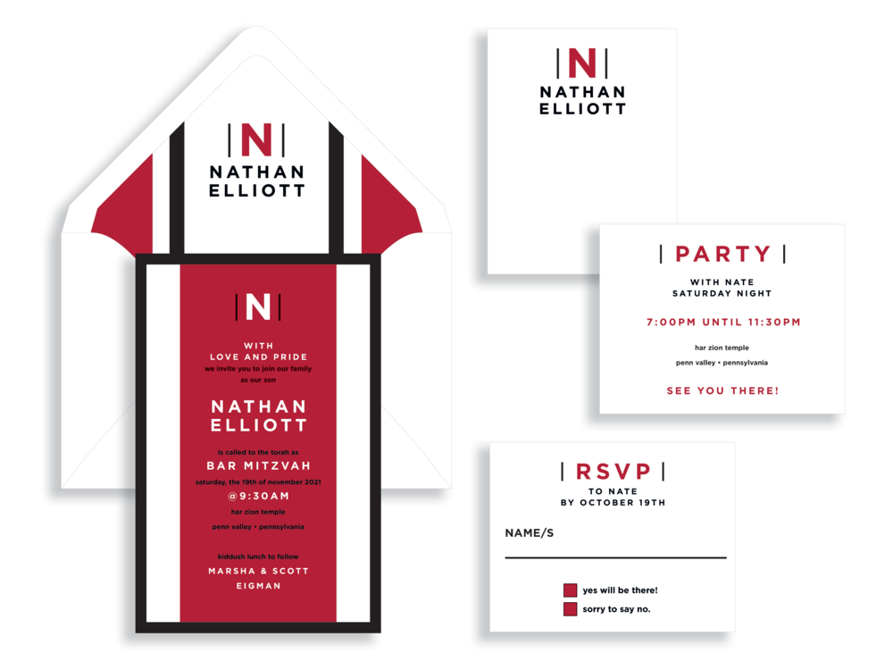 A bold red stripe and the bar mitzvah's initial are the highlight of this contemporary bar mitzvah invitation available from Staccato for you Washington, DC mitzvah celebration.