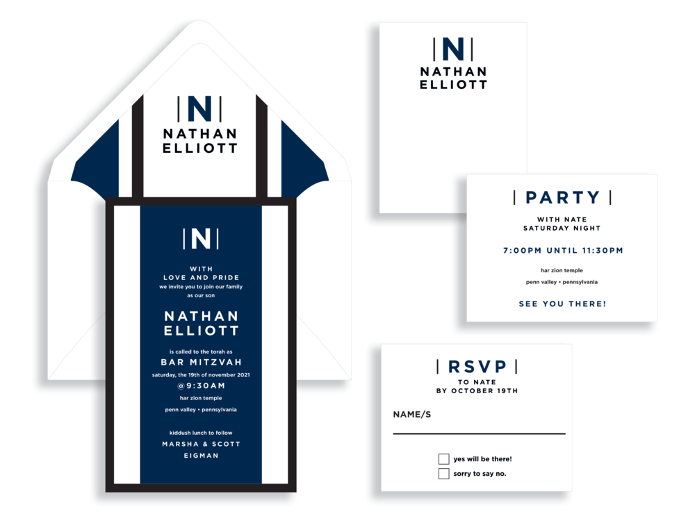 Monogram and stripes in bold colors are perfect to invite guest's to a bar mitzvah. Bar Mitzvah invitations are available at Staccato in Fairfax, Virginia.