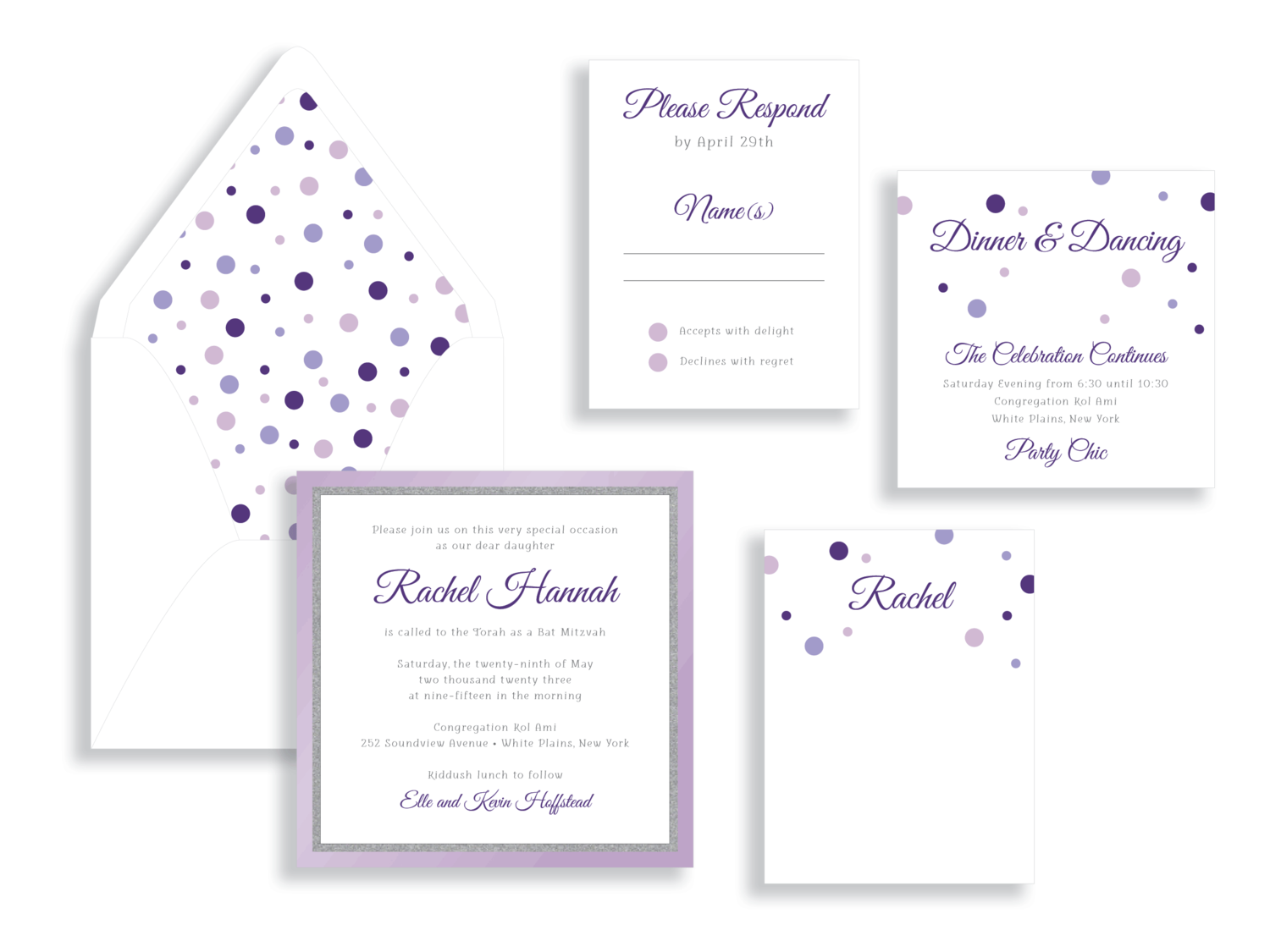 Rachel purple and silver glitter polka dot bat mitzvah invitation in Fairfax Virginia from Staccato with personalized service, great selection!