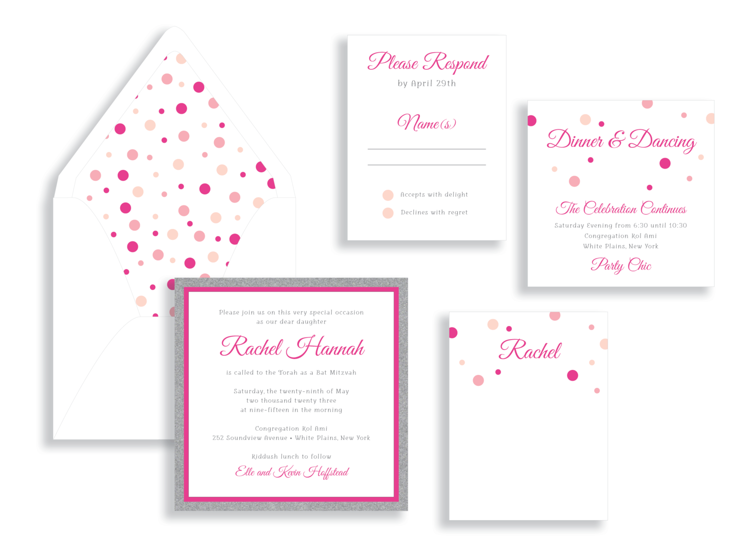 Rachel polka dot Bat Mitzvah invitation in pink and blush.  Bat Mitzvah invitations Northern Virginia Fairfax.
