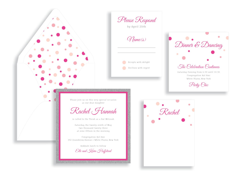 Rachel polka dot Bat Mitzvah invitation in pink and blush.  Bat Mitzvah invitations Northern Virginia Fairfax.