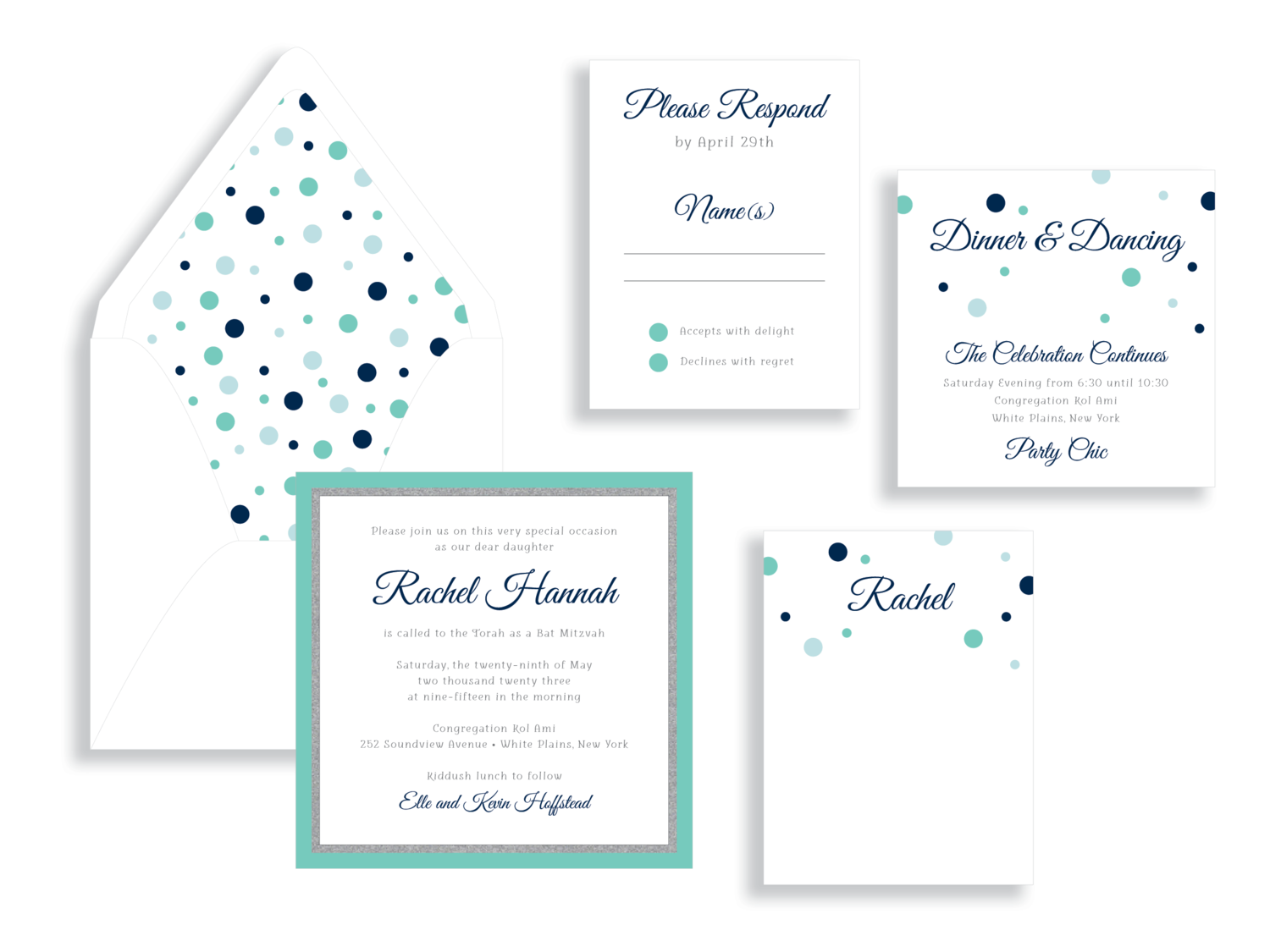 Rachel navy and aqua poka dot bat mitzvah invitation in the Washington DC Metro area from Staccato.  Customize colors and layers!